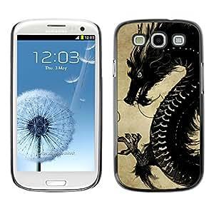 Caucho caso de Shell duro de la cubierta de accesorios de protección BY RAYDREAMMM - Samsung Galaxy S3 I9300 - Black Chinese Dragon;