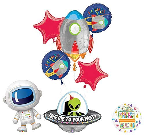 Mayflower Products Blast Off Rocket Space Alien Adorable Astronaut Birthday Party Supplies Balloon Bouquet Decoration
