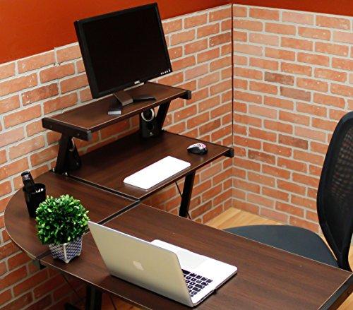 BHG L Shape Computer Desk with Slide-out Keyboard, Brown with Black Frame BHG