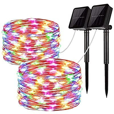 Solar String Lights, 2 Pack 100 LED Solar Fairy Lights 33 feet 8 Modes Copper Wire Lights Waterproof Outdoor String Lights for Garden Patio Gate Yard Party Wedding Indoor