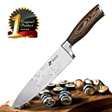 [Japanese] Chef Knife Premium AUS8 Steel - Professional 8 inch Kitchen Chefs Knife Set - Durable, Rust-Proof Stainless Steel Sharp Blade with Solid Pakka Wood Handle in Elegant Magnetic Gift Box