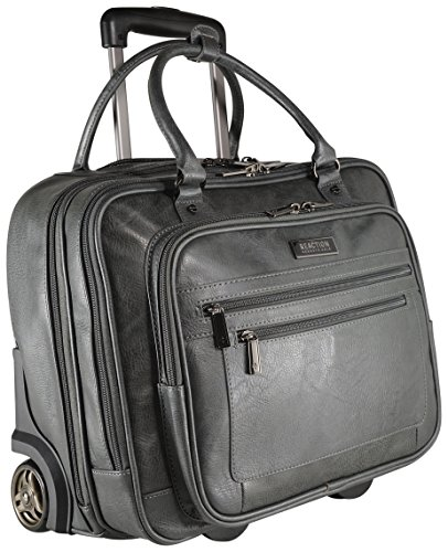 Kenneth Cole Reaction Wheel Fast Double Compartment Top Zip Wheeled Computer Case Overnighter (Charcoal) - Over Double Compartment Laptop Bag