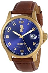 """Invicta Men's 15255 """"I-Force"""" 18k Gold Ion-Plated Stainless Steel and Brown Leather Watch"""