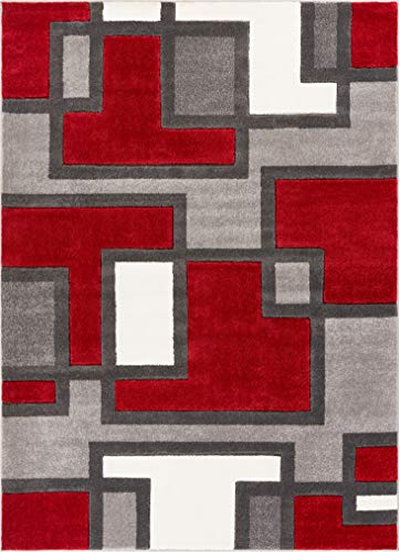 - Uptown Squares Red & Grey Modern Geometric Comfy Casual Hand Carved Area Rug 8x10 8x11 ( 7'10