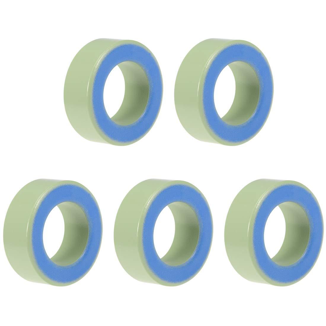 uxcell 5pcs 26.9 x 45 x 16.8mm Ferrite Ring Iron Powder Toroid Cores Light Green Blue