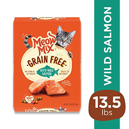 Meow Mix Grain Free Dry Cat Food With Wild Salmon, 13.5 Pounds