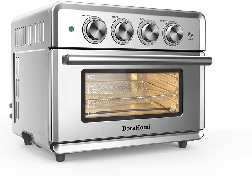 DoraHomi 1800W Air Fryer Toaster Oven 8 in 1 Multi-function, 26QT Air Fryer Oven, Roast, Bake, Broil, Pizza, Toaster, Warm & Cookies functions, Stainless Steel Housing.