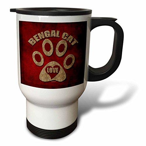 3dRose Bengal Cat Love Cat Breed in Cheetah Print and Red Travel Mug, 14-Ounce