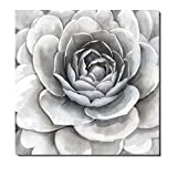 Image of 3Hdeko-Large Flower on Canvas Artwork Simple Elegant Gray with Slightly Purple and Pink for Living Room Bedroom Decorations Cubism Floral Wall Art With Embellishment,Stretched(30X30Inch)