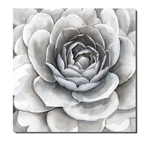 Flower on Canvas Artwork Simple Elegant Gray with Slightly Purple