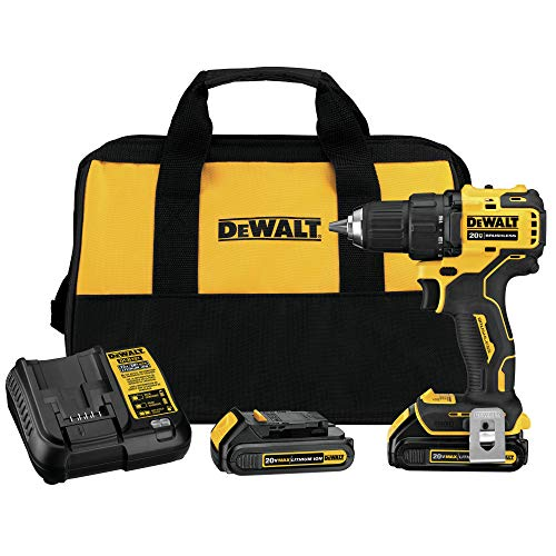 DEWALT DCD708C2 Atomic 20V Max Lithium-Ion Brushless Cordless Compact 1/2 Inch Drill Driver Kit