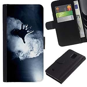 Billetera de Cuero Caso Titular de la tarjeta Carcasa Funda para Samsung Galaxy Note 4 SM-N910 / Fog Black White Deep Meaning / STRONG