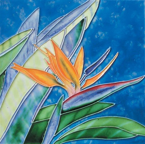 "Bird of Paradise - Decorative Ceramic Art Tile - 8""x8"" En Vogue"
