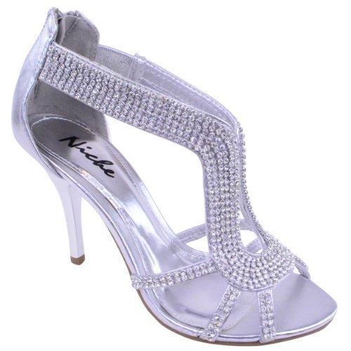 Mujer Fiesta Novia Boda Noche Moderno Tacón Alto Zapatos Sandalias Talla Plata Metálico