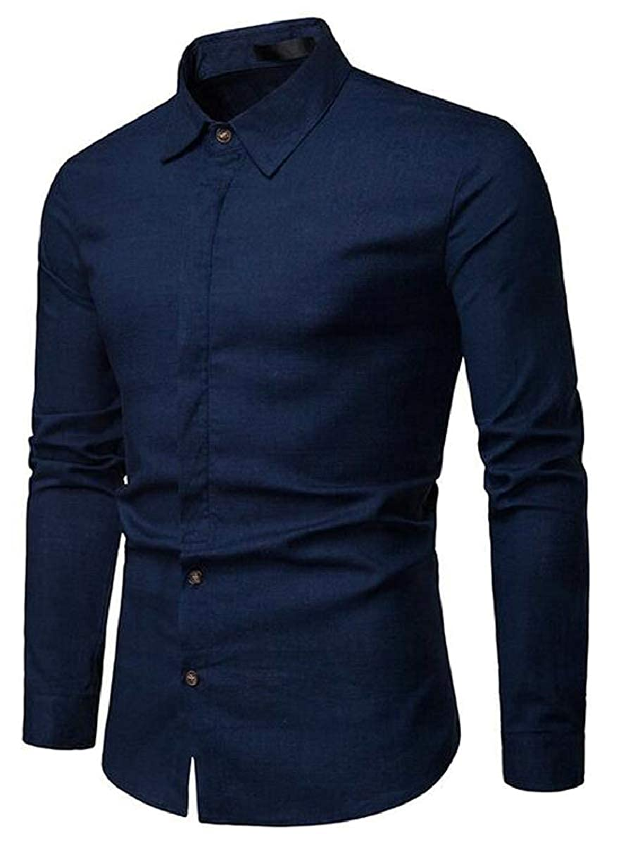 Xswsy XG Men/'s Fashion Slim Plain Shirts Button Down Long Sleeve Business Shirt