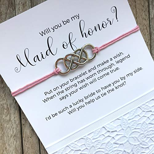 (Will you be my maid of honor, Maid of honor bracelet, Maid of honor gifts, Bracelets in your charm and string color on personalized invitation cards. B3)