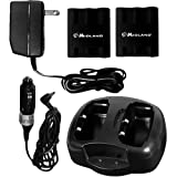 Midland Dual Desktop Charger with 2 Rechargeable Battery Packs and Vehicle Adaptor (Model AVP3)