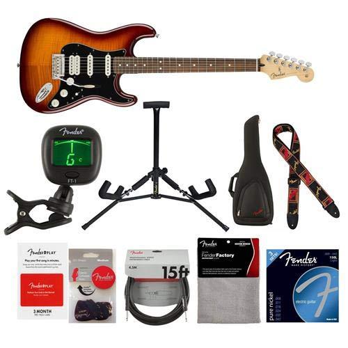 Maple Top Tobacco Sunburst - Fender Player Stratocaster HSS Plus Top Electric Guitar, 22 Frets, Modern