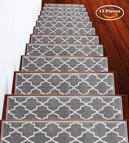 Stair Treads 9 inch by 28 inch Trellisville Collection Contemporary, Cozy, Vibrant and Soft Stair Treads, Gray & White, Pack of 13 [100% Polypropylene] (Stair Tread Bullnose)
