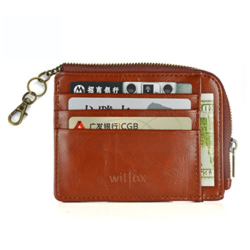 Womens RFID Leather Zipper Small Card Case Slim Wallet With Key Chain ID Window (Brown)