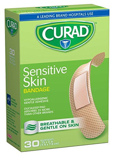 Curad Sensitive Skin, 0.75 Inches X 3 Inches, 30 count  (Pack of 3) ()