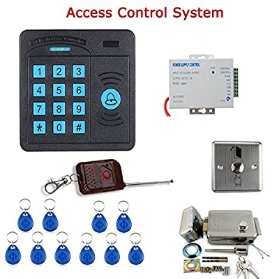 MOUNTAINONE Door Access Control System Controller ABS Case RFID Reader Keypad Remote Control 10 ID cards Electric Door Lock