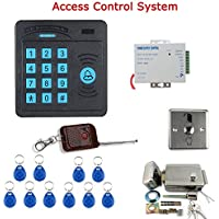 MOUNTAINONE Door Access Control System Controller ABS Case RFID Reader Keypad Remote Control 10 ID cards Electric Door Lock SY5100R-C
