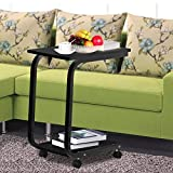 Coffee Table with Wheels Azadx Modern Removable Living Room/bedroom 2 Tier Sofa Side End Snack Table Tray Coffee Tables with Wheels Black/Coffee/White (Black)