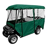 Leader Accessories Deluxe 4-Person Golf Cart Enclosure Storage Cover Driving Fit EZ Go, Club Car, Yamaha Cart - Green W Zipper
