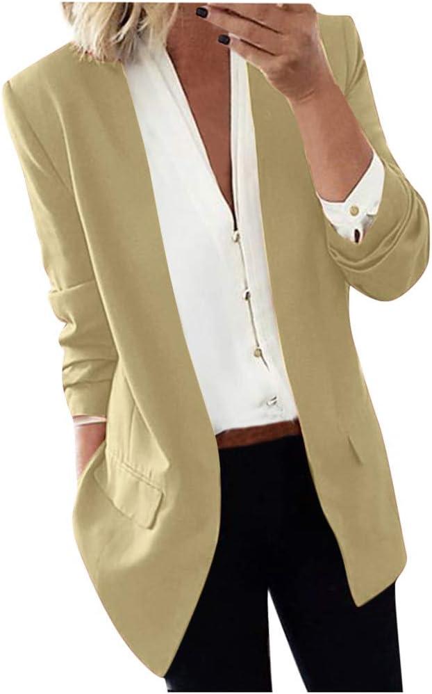 Women Blazer Jacket Coat Ladies Solid Long Sleeve Long Coat Cardigan Office Suit Outwear