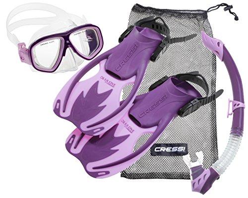 cressi Kinder-Tauchset Schnorchelset ROCKS DELUXE (Tauchmaske, Schnorchel, Flossen & Netzbeutel) - Purple/Pink - L/XL - 34-38