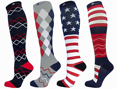 4 Pair M/L All American Flag & Novelty Moderate/Medium Graduated Compression Socks 15-21 mmHg. Nurses, Running, Travel & Flight Knee-High, Mens & Womens Comfort Blend. USA Red, White & -