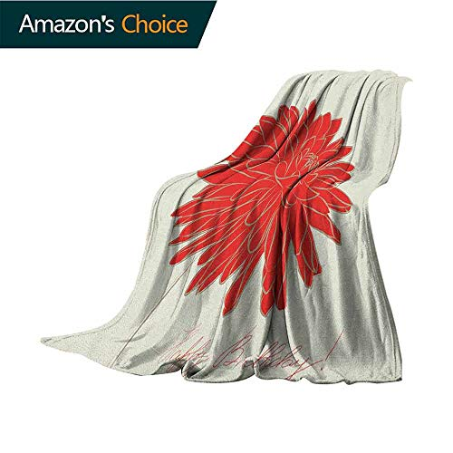 Dahlia Soft Blanket King Size,Sketching of a Colossal Dahlia Blossom Retro Style in Blood Red Colored Single Flower for Bed & Couch Sofa Easy Care,60