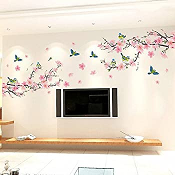 Amazon alicemall floral wall sticker wonderful blossom peach alicemall floral wall sticker wonderful blossom peach flowers wall sticker living room staircase tv background stickers mightylinksfo