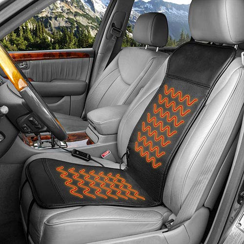 Heated Cushion Seat Deluxe Car - HealthMate Products IN9449 Deluxe Sport 12V DC Heated Seat Cushion with Intelligent Temperature Controller Black by Wagan