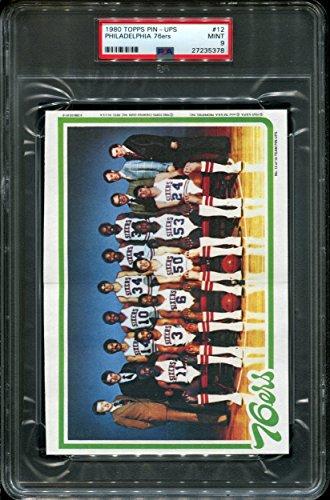 1980 TOPPS PIN-UPS #12 PHILADELPHIA 76ers W/ J.ERVING POP 7 PSA 9 K2511636-378 1980 Philadelphia 76ers