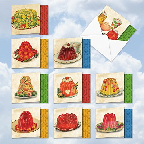 MQ4945OCB-B1x10 Marvelous Gelatin Molds: 10 Assorted Blank Note Cards Featuring Images of Retro Ads for Delicious Jell-O Desserts, with Envelopes.