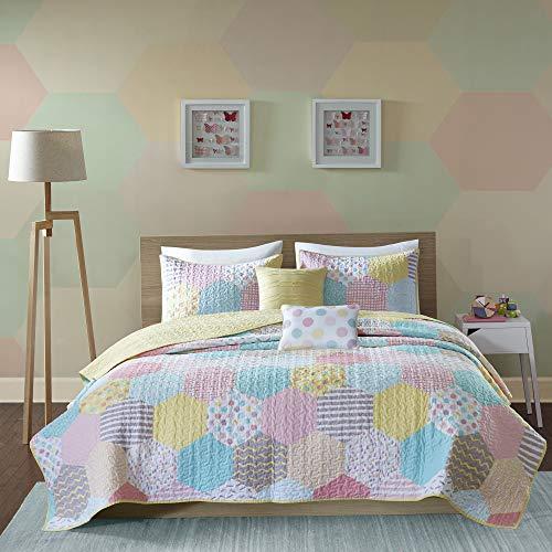 Urban Habitat Kids Trixie Full/Queen Bedding for Girls Quilt Set - Pink Yellow Teal, Geometric - 5 Piece Kids Girls Quilts - Cotton Quilt Sets Coverlet