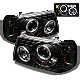 For Ford Ranger Pickup 2 in 1 Black Bezel Dual Halo Ring Projector Headlights w/Corner Signal Lamps