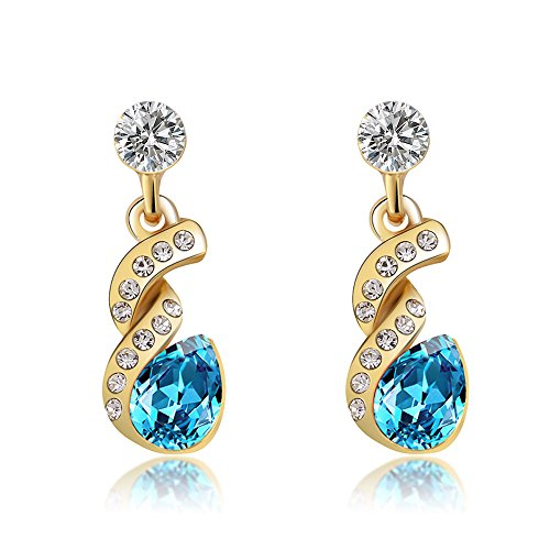 Pear Shape Halo Teardrop Cubic Zirconia Twist Design Dangle Earrings Fashion Jewelry Gift (1 pair of earrings- Aqua Blue Color) (Shape Twist Earrings Pear)
