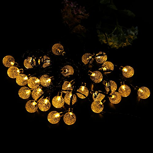 Solar String Lights 20ft 30LED Crystal Ball Globe String Lights-Waterproof LED Fairy Lighting for Outdoor Garden Landscape Patio Backyard Holiday Decor, Warm White