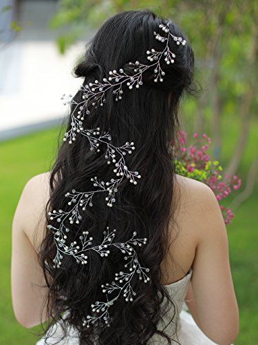 FXmimior 39.4IN Super Long Bridal Wedding Crystals Love Long Hair Vine Wedding Evening Party (Crystal Hair Vine)
