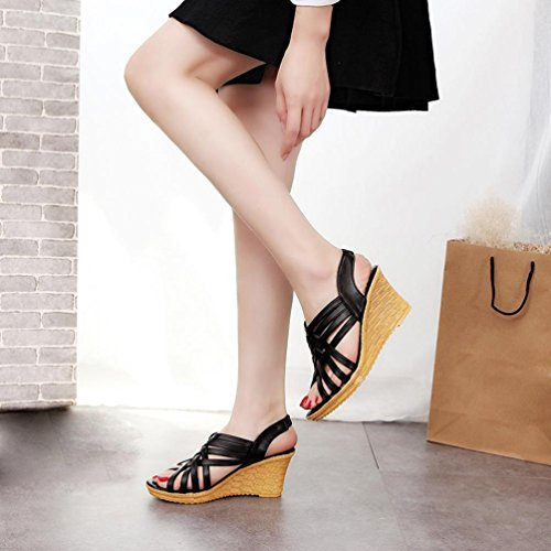 ... Tefamore Damen 7,5 cm Keile Sandalen , Hohen Plattformen Cut Outs  Muster karierter Gürtel