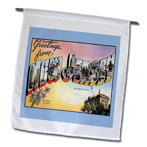 T-shirts Gifts Postcard - 3dRose fl_163726_1 Image of Greetings from New Jersey Vintage Postcard Garden Flag, 12 by 18-Inch