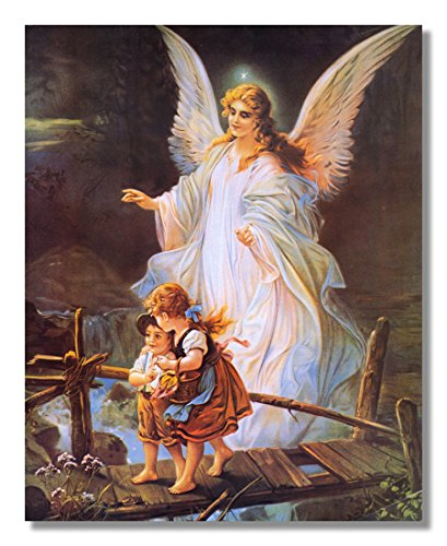 Guardian Angel With Children On Bridge Religious Wall Picture Art Print