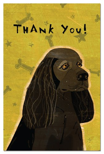 Tree-Free Greetings Eco-Notes Thank You Card Set, 4 x 6 Inches, 12-count Cards with Envelopes, Black American Cocker Spaniel (Tree Free Note Card)