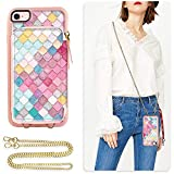iPhone 7 Wallet Case, ZVE iPhone 8 Case with Credit Card Holder Slot Crossbody Chain Handbag Purse Shockproof Protective Zipper Leather Case Cover for Apple iPhone 7/8, 4.7 inch - Mermaid Wall