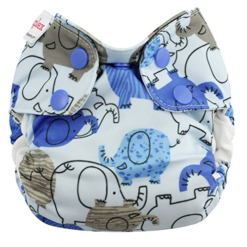 Blueberry Organic Newborn Simplex All in One Cloth Diapers, Made in USA (Blue Elephants)