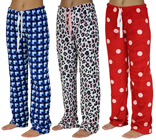 Pajama Bottom Pants (3 Pack Women's Coral Fleece Plush Sleepwear Lounge Pajama Pijama Pants Sexy PJ Bottoms - Set 1,M)