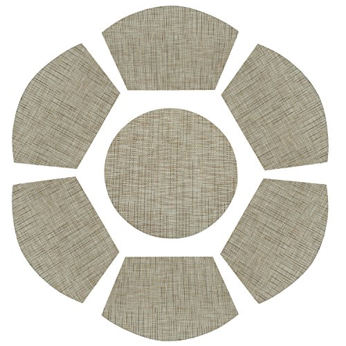 PAUWER Vinyl Wedge Shaped Placemat Set of 6 Plus Center Round Placemats for Kitchen Table Heat Insulation Stain-resistant Washable Placemats for Round Table (Set of 7, Beige)